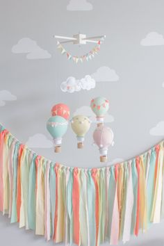 Fabric Banner in Aqua Coral Mint Yellow and by sunshineandvodka