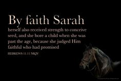 By faith, even Sarah herself received power to conceive, and she bore a child when she was past age, since she counted him faithful who had promised. -- Hebrews 11:11