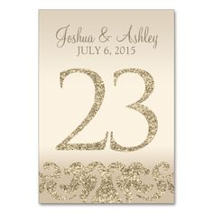 Glitter Look Wedding Table Numbers-Table Card 28 This modern table card design features faux gold glitter accents with a champagne background. Perfect for elegant and modern weddings. The table number cards go up to Card Table Wedding, Wedding Table Numbers, Wedding Cards, Glitter Wedding, Silver Glitter, Glitter Table Numbers, Glitter Spray Paint, Rose Gold Table, Fun Wedding Invitations