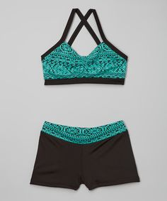 Look at this #zulilyfind! Elliewear Teal & Black Houndstooth Crop Top - Girls by Elliewear #zulilyfinds