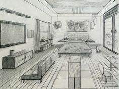 one point perspective fancy bed room