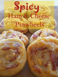 Easy appetizers, Spicy Ham and Cheese Pinwheels, are so good. Made from crescent rolls.
