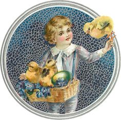 Wings of Whimsy ~ 1911 Easter Children Scrap