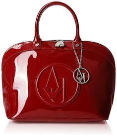 Armani Jeans Eco Patent Bowler Bag, Bordeaux - Buy Apparel Online