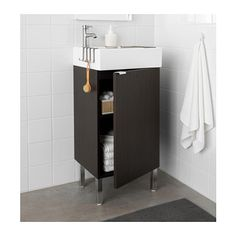 LILLÅNGEN Sink cabinet with 1 door - black-brown - IKEA