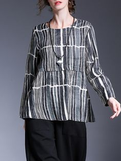 Miting Casual Loose Striped O-Neck Long Sleeve Women Blouse 29bbe5a0d1