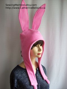 $40 - $50  Pin Now For Later - Canadian handcrafred winter hat - pink bunny hat - SewingMemere.etsy.com