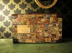 'Around the World in 80 Stamps' Vintage Travel Restyled Suitcase.