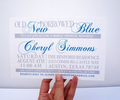 Hey, I found this really awesome Etsy listing at https://www.etsy.com/listing/109915507/bridal-shower-something-old-new-borrowed