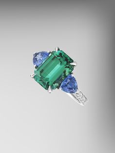 Mint Tourmaline and Blue Tourmaline Ring by Paolo Costagli