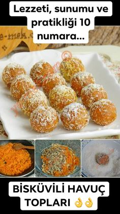 Carrot Balls Recipe, How To? (Practical and easy dessert) Carrot Balls Recipe, How To? (Practical and easy dessert) Carrot Balls Recipe, Pie Recipes, Great Recipes, Food Garnishes, Coffee Break, Easy Desserts, Carrots, Slushies, Food Porn