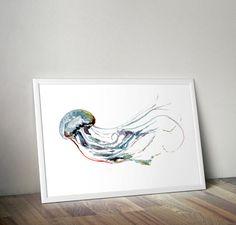 Watercolor Jellyfish Print for beach house living room bathroom by WatercolorWall, Printable Art