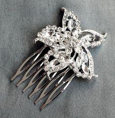Rhinestone Bridal Hair Comb Beach Wedding Jewelry by LXdesigns