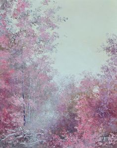 Palette knife oil painting of an Australian forest landscape in soft tones of autumn pink.