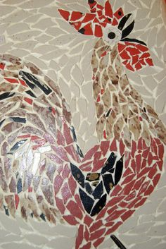 Vintage Mosaic Tile Painting of A Rooster | eBay