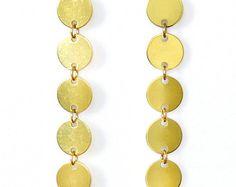 Geometric brass earrings minimalistic brass studs by CombaDesigns