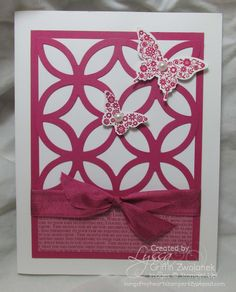 handmade card  ... Lovely Latticework using the lattice die cut ... monochromatic ... luv the layout design ...  Stampin' Up!