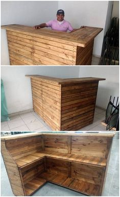 You can easily recycle the use of old wood pallet through the custom designing of the bar counter table with it. Here the bar counter table design is comprised with the stacking of the rough use of wood pallet in it. It is designed in much a creative and fascinating finishing of the charming taste. It is perfect for using it as in your kitchen area too.