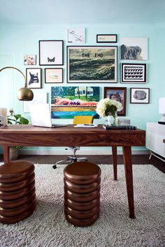 Love this colorful office space and that gallery wall! Kelly Oxford: Modern Day Literati