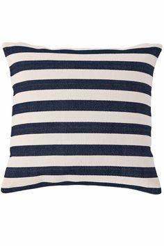 Trimaran Stripe Navy/Ivory Indoor/Outdoor Pillow | Dash & Albert