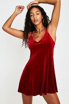 926175aa5dc UO Tessa Red Velvet Strappy Low-Back Mini Dress. Urban Outfitters