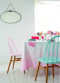 Half painted chairs and ombre table cloth Painted Chairs, Painted Furniture, Wooden Chairs, Dipped Furniture, Painted Wood, Kitchen Chairs, Dining Chairs, Room Chairs, Dining Table