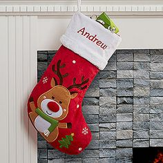 Santa Claus Lane Personalized Stocking-Reindeer