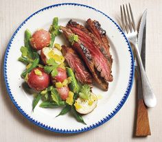 Pineapple-Marinated Steak With Spicy Potatoes and Green Beans recipe: The steak can be marinated and the potato salad can be prepared up to 12 hours in advance.