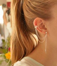 Silver Leaf Earring With Chain Ear Cuff Ear Clip by IdeaCreation, $3.80