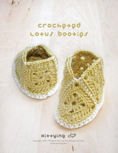Crocheted Lotus Booties PATTERN by kittying.com from mulu.us | This pattern includes sizes for 0 - 12 months.