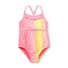 Emojination Little Girls Toddler 1-Piece Swimsuit 2t Blue//Multi