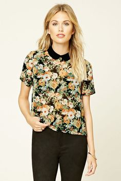 Forever 21 Contemporary - A woven boxy top featuring a floral print, contrast peter pan collar, button keyhole back, and short sleeves.