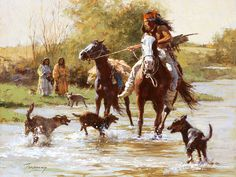 Terpning Yapping Dogs Native American Western Art Print