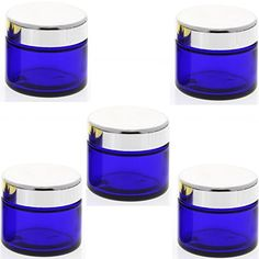 Blau Glas-Tiegel 50ml mit Deckel Silber, Leere Kosmetex Glas Creme-Dose, Kosmetik-Dose aus Blauglas, Blau - Silber, 5 Stück, 18,95 Euro