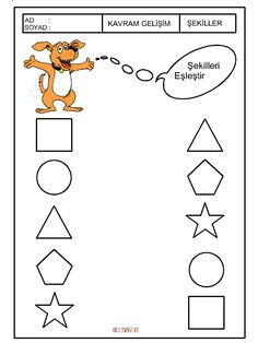 okul öncesi eşleştirme - Google'da Ara Preschool Games, Preschool Worksheets, Activities, Printable Shapes, Kindergarten Math, Math Centers, Coloring Pages, Money, Reading