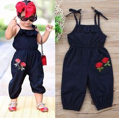 Buy Toddler Kids Baby Girls Strap Flower Romper Jumpsuit Playsuit Outfit Clothes at Wish - Shopping Made Fun Fashion Kids, Baby Girl Fashion, Toddler Fashion, Womens Fashion, Fashion Trends, Little Boy Outfits, Toddler Outfits, Kids Outfits, Baby Outfits