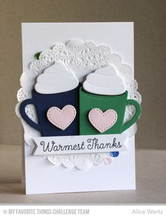 Warmest Thanks Card by Alice Wertz featuring the Laina Lamb Design Hug in a Mug stamp set and Hot Cocoa Cups Die-namics #mftstamps