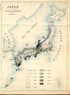 Map: Japan Annual Rainfall #map #japan