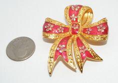 Joan Rivers Enamel Rhinestone Bow Ribbon Brooch Pin Costume Jewelry Pink | eBay sold