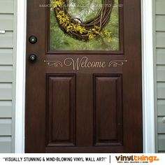 "Wall Decals Front Door Home Welcome Vinyl Art 4"" x 23"". $9.00, via Etsy."