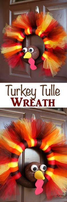 DIY Thanksgiving Turkey Tulle Wreath for Front Door Decor is part of Fall crafts Wreaths - Don't Skip Thanksgiving! Decorate your door with this easy Thanksgiving Turkey Tulle Wreath! The best Thanksgiving Wreath for your Door decor! Fall Crafts, Halloween Crafts, Holiday Crafts, Diy And Crafts, Holiday Ideas, Thanksgiving Wreaths, Thanksgiving Turkey, Diy Thanksgiving Decorations, Thanksgiving Desserts
