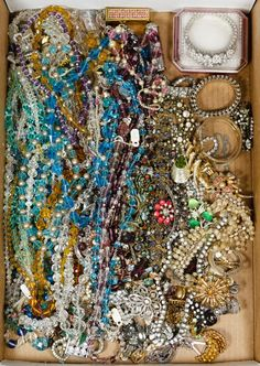 Lot 451: Rhinestone and Crystal Jewelry Assortment; Approximately six pounds of necklaces, pins, bracelets and earrings