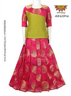 Chanderi Pattu Pavadai/Lehenga !!! Kids Party Wear Dresses, Kids Dress Wear, Kids Gown, Dresses Kids Girl, Kids Blouse Designs, Sari Blouse Designs, Lehenga Designs, Baby Dress Design, Frock Design