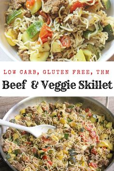 A tasty family style skillet meal full of summer veggies, ground beef, and low carb, gluten free noodle. Free from . Venison Recipes, Thm Recipes, Side Dish Recipes, Cooking Recipes, Healthy Recipes, Sausage Recipes, Healthy Eats, Free Recipes, Hamburger Dishes