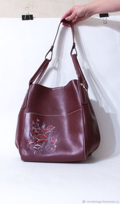 Bag leather Burgundy shoulder pattern manually Maki – shop online on Livemaster with shipping - Soft Leather, Leather Bag, Metal Buttons, Bag Making, Burgundy, Shoulder, Pattern, Handmade, Bags