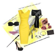 """Party - Hufflepuff"" by novastar on Polyvore featuring Christian Louboutin, Rebecca Minkoff, BERRICLE, Blue Nile, Allurez, Calvin Klein Underwear and Charlotte Russe"