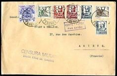 SPAIN CIVIL WAR TO FRANCE TENERIFE Censored Air Mail Cover w/Local Franking VF