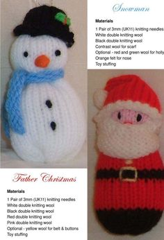 Pretty Picture of Christmas Knitting Patterns Christmas Knitting Patterns Free Christmas Knitting Patterns Santa Angel Snowman And Tree Knitted Christmas Decorations, Knit Christmas Ornaments, Christmas Toys, Xmas, Double Knitting, Loom Knitting, Free Knitting, Knitting Toys, Knitted Doll Patterns
