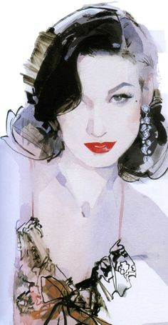 Illustration by  David Downton, Dita Von Teese.