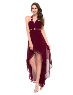 Grace Karin Black Chiffon Hi-Lo Evening Dresses 2017 Cheap Halter Formal Evening Gowns Ruffles Open Back Prom Dinner Dress Prom Dresses 2016, Elegant Prom Dresses, Backless Prom Dresses, Short Dresses, Burgundy Evening Dress, Grey Prom Dress, Burgundy Dress, Red Burgundy, Long Party Gowns